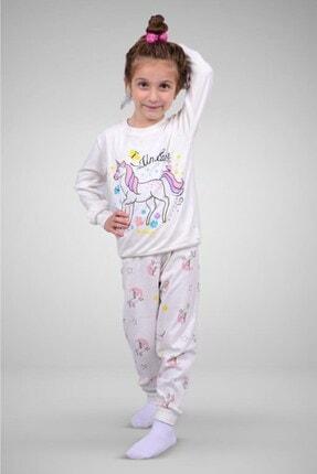 Paty Kız Çocuk Beyaz Unicorn Desenli Pamuklu Pijama Takımı