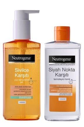 Neutrogena Sivilce Karşıtı Yağsız Yüz Temizleme Jeli 200ml& Visibly Clear Siyah Nokta Tem.tonik 200ml