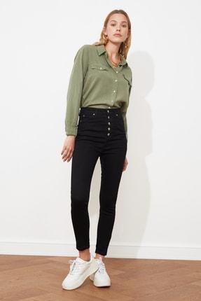 TRENDYOLMİLLA Siyah Önden Düğmeli Yüksek Bel Skinny Jeans TWOAW20JE0051