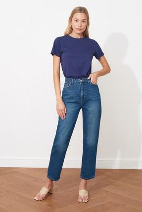 TRENDYOLMİLLA Lacivert Yüksek Bel Straight Jeans TWOSS20JE0166