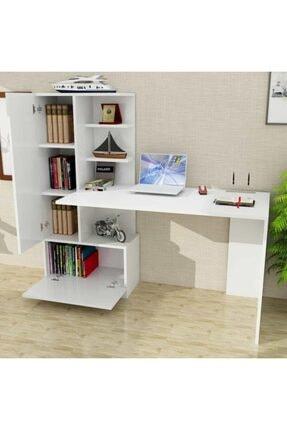 Dekorister Domingos Kitaplıklı Çalışma Masası Beyaz