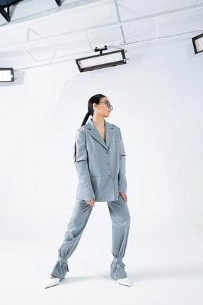 wabisabiaksesuar Kadın Gri Mavi Over Ceket