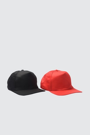 TRENDYOLMİLLA Çok Renkli 2'li Paket Arkası Ayarlanabilir Kep Şapka TWOSS21SP0004