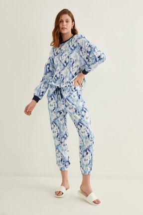 adL Kadın Batik Mavi Paçası Lastikli Batik Desenli Pantolon