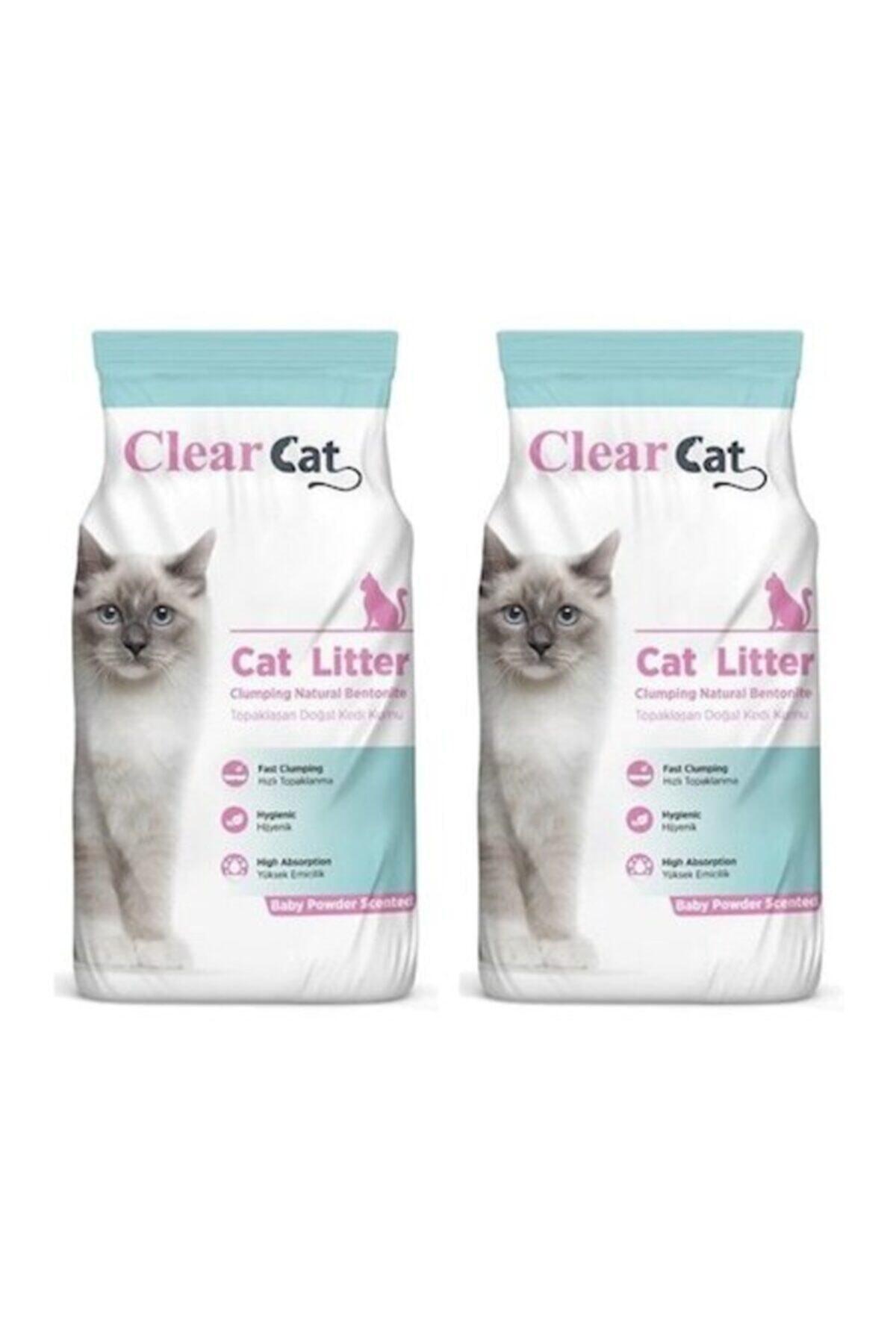 Clear Cat Bebek Pudrası Kokulu Ince Taneli Kedi Kumu 10 Lt X 2 Adet 1
