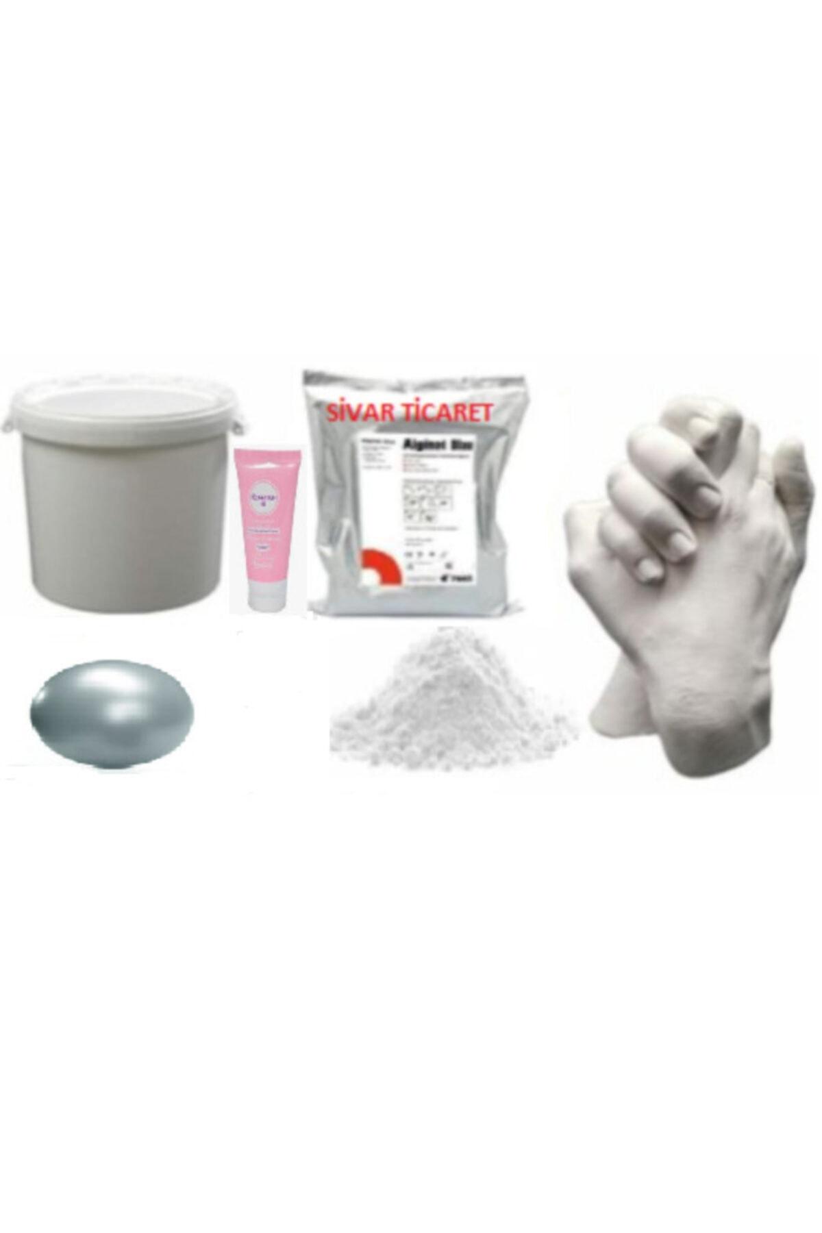 Sivar Gümüş Yaldız Boyalı Aljinat Kalıp El Heykeli Kalıbı Tozu Ve 1 Kg Hızlı Donan Alçı - Kovalı Set 1