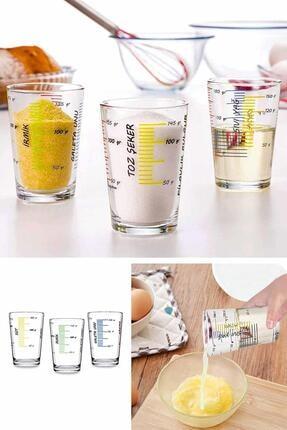 Helen's Home 3'lü Cam Ölçü Bardağı Ölçek Göstergeli Bardak Seti