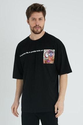 XHAN Siyah Baskılı Oversize T-shirt 1kxe1-44640-02