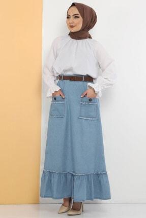 Tesettür Dünyası Kadın Açık Mavi Cep Detaylı Kot Etek Tsd0966