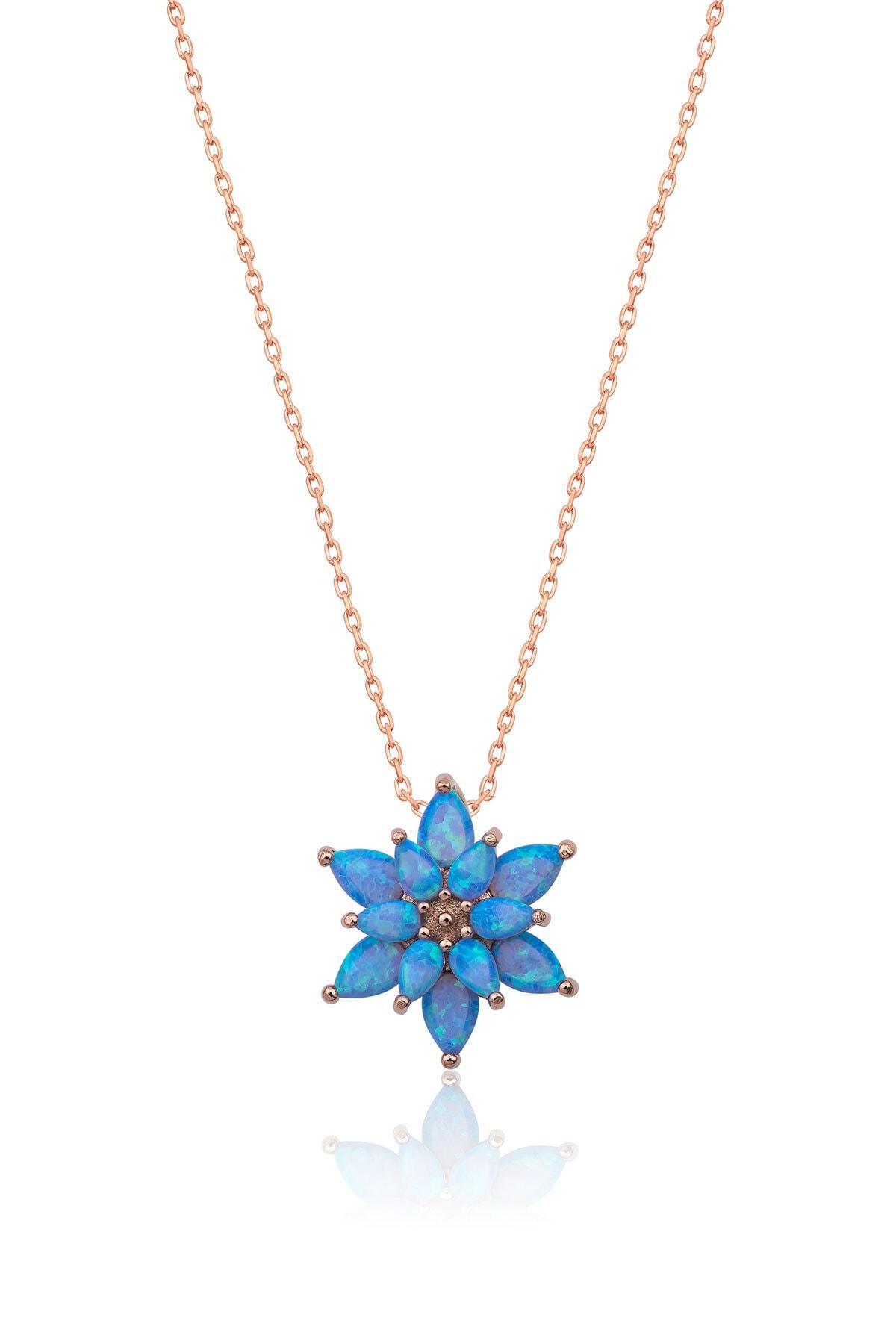 Papatya Silver 925 Ayar Açık Mavi Opal Taşlı Gümüş Lotus Kolye 1