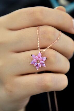 Papatya Silver Kadın Pembe Opal Taşlı Lotus Gümüş Kolye