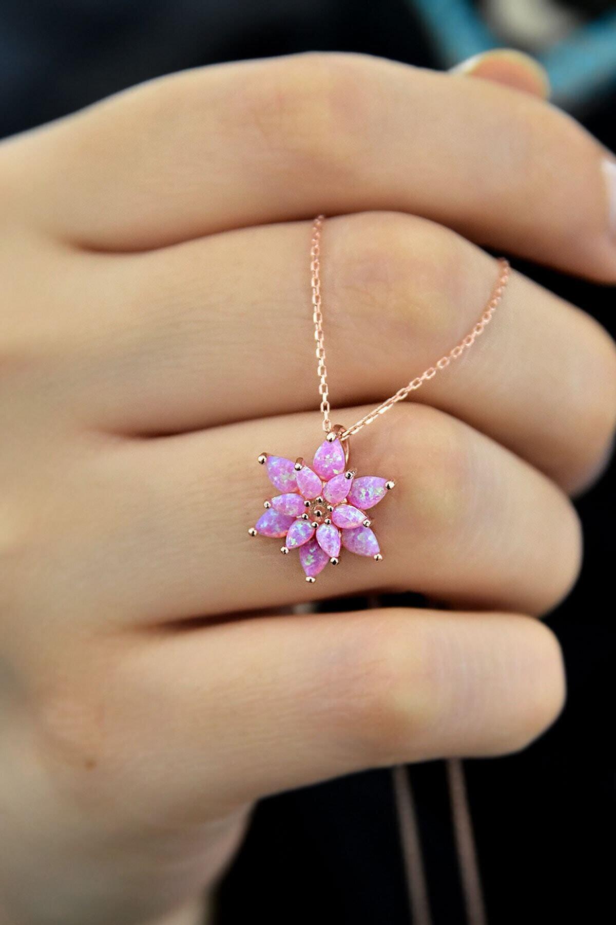 Papatya Silver Kadın Pembe Opal Taşlı Lotus Gümüş Kolye 1