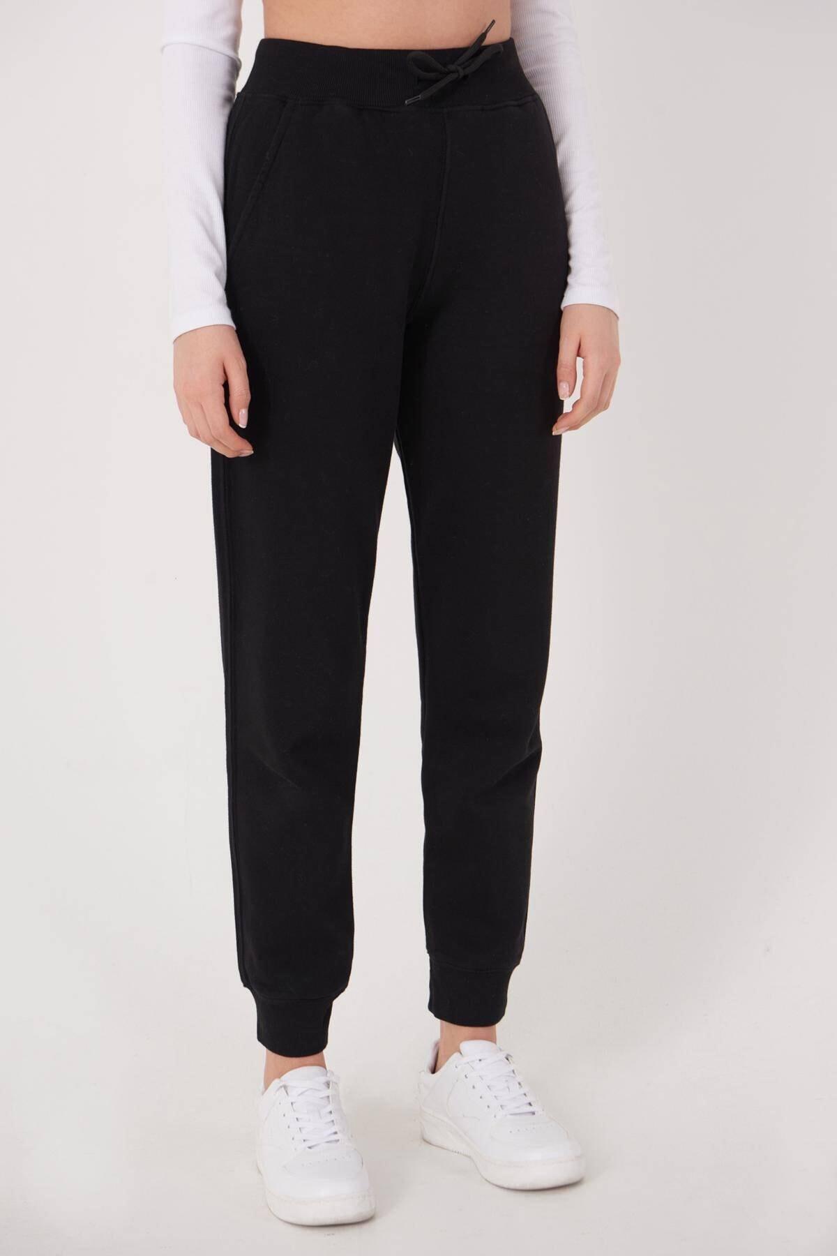 Addax Kadın Siyah Cep Detaylı Eşofman Eşf1040 - H10 Adx-0000022795 1