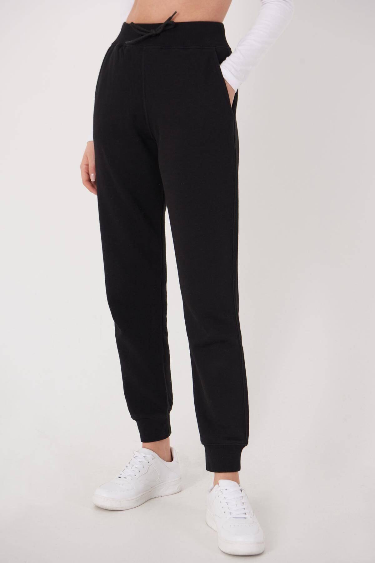Addax Kadın Siyah Cep Detaylı Eşofman Eşf1040 - H10 Adx-0000022795 2