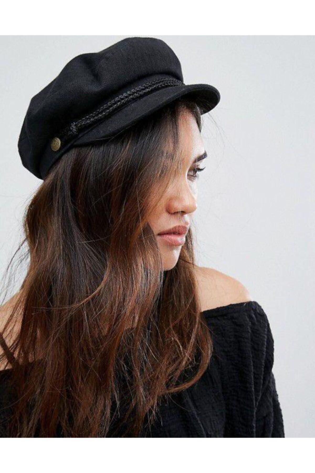 Mathilda Aksesuar Bayan Kasket Şapka Siyah 1