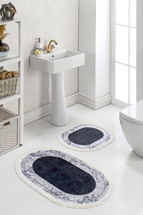 Brillant 2'li Banyo Klozet Paspas Seti Kaymaz Taban Yıkanabilir Modern Mermer Desenli Antrasit