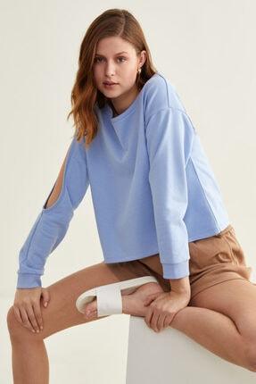 adL Kadın Mavi Kol Dekolteli Sweatshirt