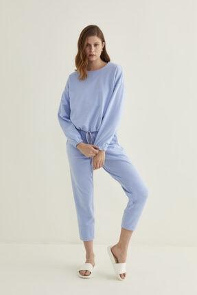 adL Kadın Mavi Kesik Detaylı Kısa Sweatshirt
