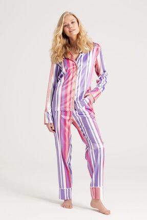 zau Kadın  Saten Çizgili Pijama Takımı