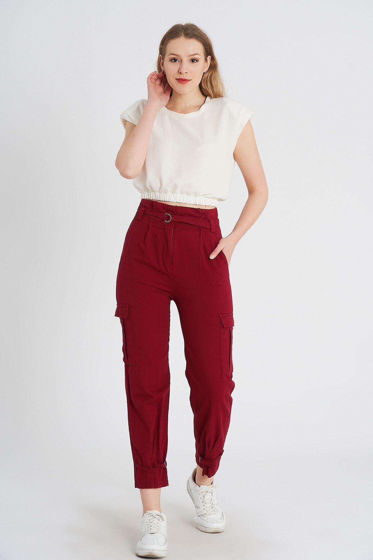 MissVina Kadın Bordo Paçası Tokalı Gabardin Pantolon K-3753 1