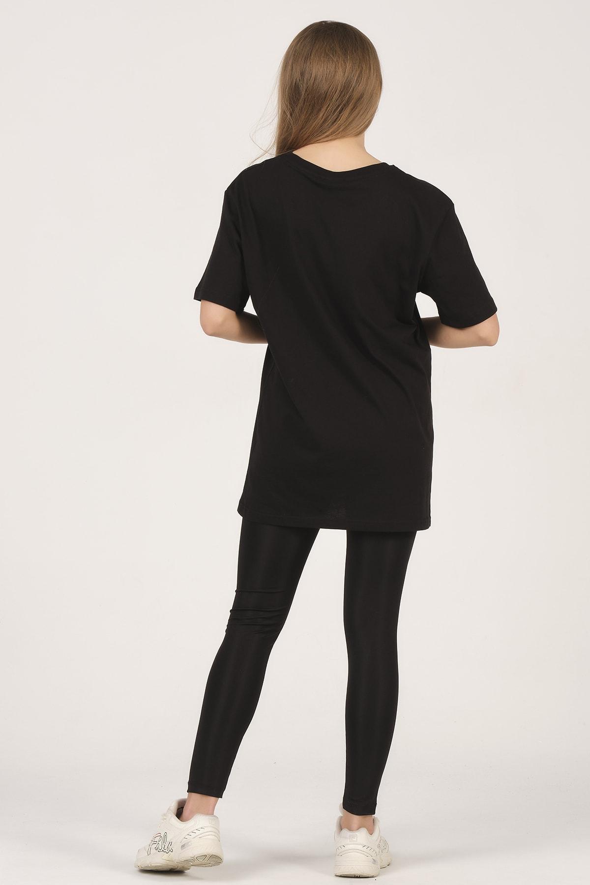 citadium Kadın Siyah Bisiklet Yaka Kısa Kollu Basic T-shirt %100 Pamuk 2