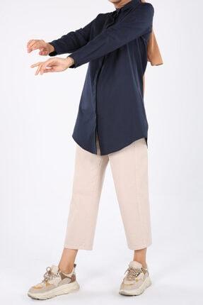 ALLDAY Lacivert Gizli Patlı Pamuklu Gömlek Tunik