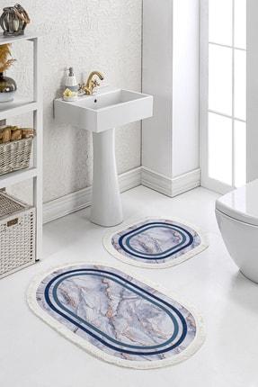 Brillant 2'li Banyo Klozet Paspas Seti Kaymaz Taban Yıkanabilir Modern Mermer Desenli Mavi Altın