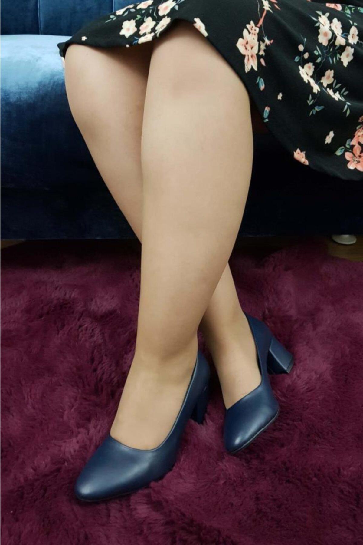 TREND Kadın Lacivert Topuklu Ayakkabı 2