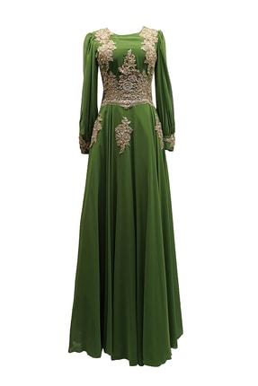 MUSTAFA DOĞAN Uzun Kollu Tesettür Yeşil Abiye Ve Mezuniyet Elbisesi