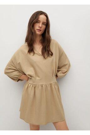 MANGO Woman Kadın Pileli Dökümlü Elbise