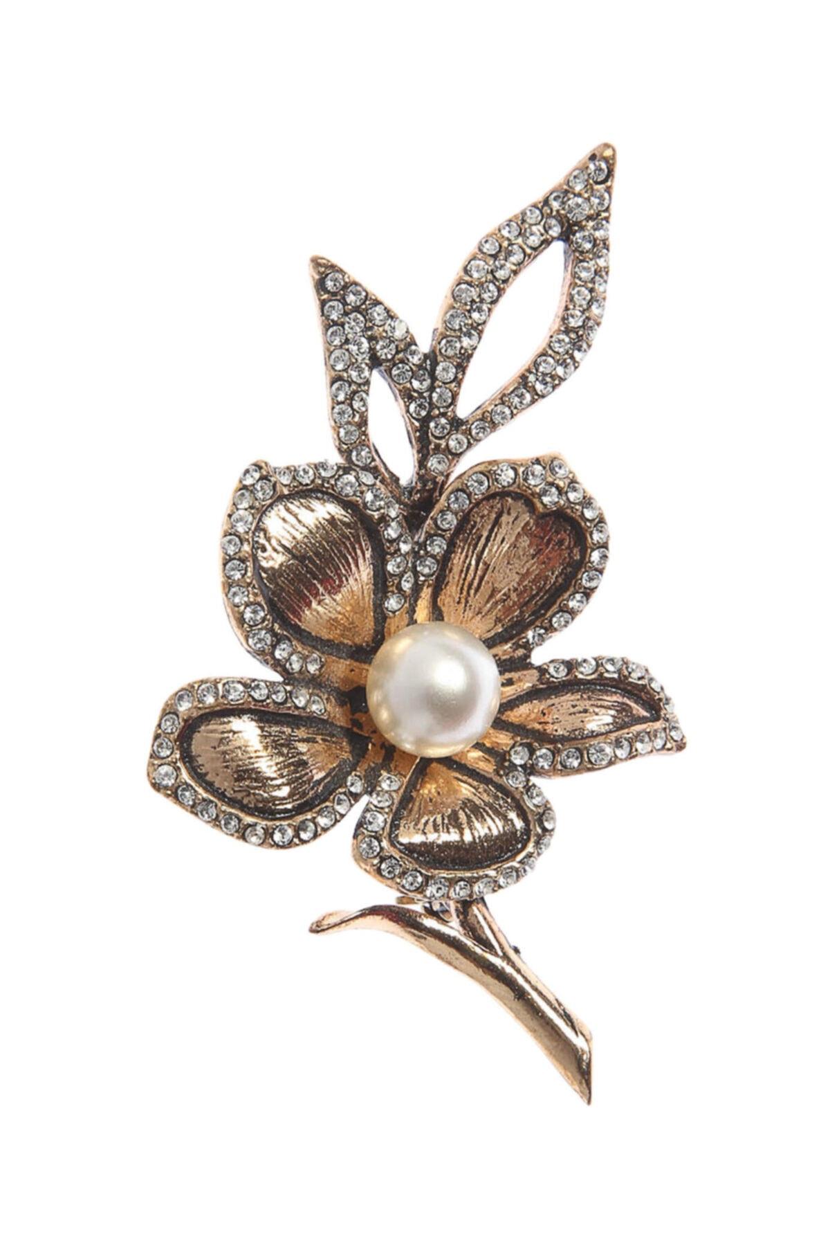 Aşina Gümüş Kadın Altın Çiçek Figürlü Taşlı Broş 2