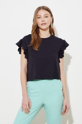 TRENDYOLMİLLA Lacivert Fırfırlı Crop Örme Bluz TWOSS21BZ0787