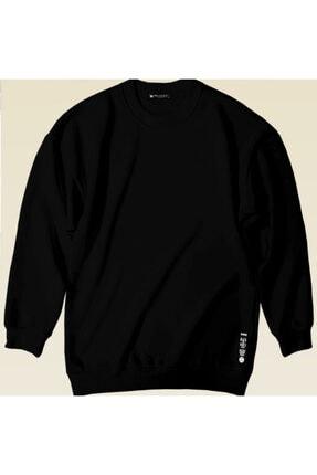 Millionaire Siyah Basic 0 Sıfır Yaka Baskısız Düz Oversize Salaş Bol Kesim Polar Sweatshirt