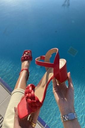 İnan Ayakkabı Kadın Kırmızı Küt Burun Örgü Tek Bant Topuklu Ayakkabı