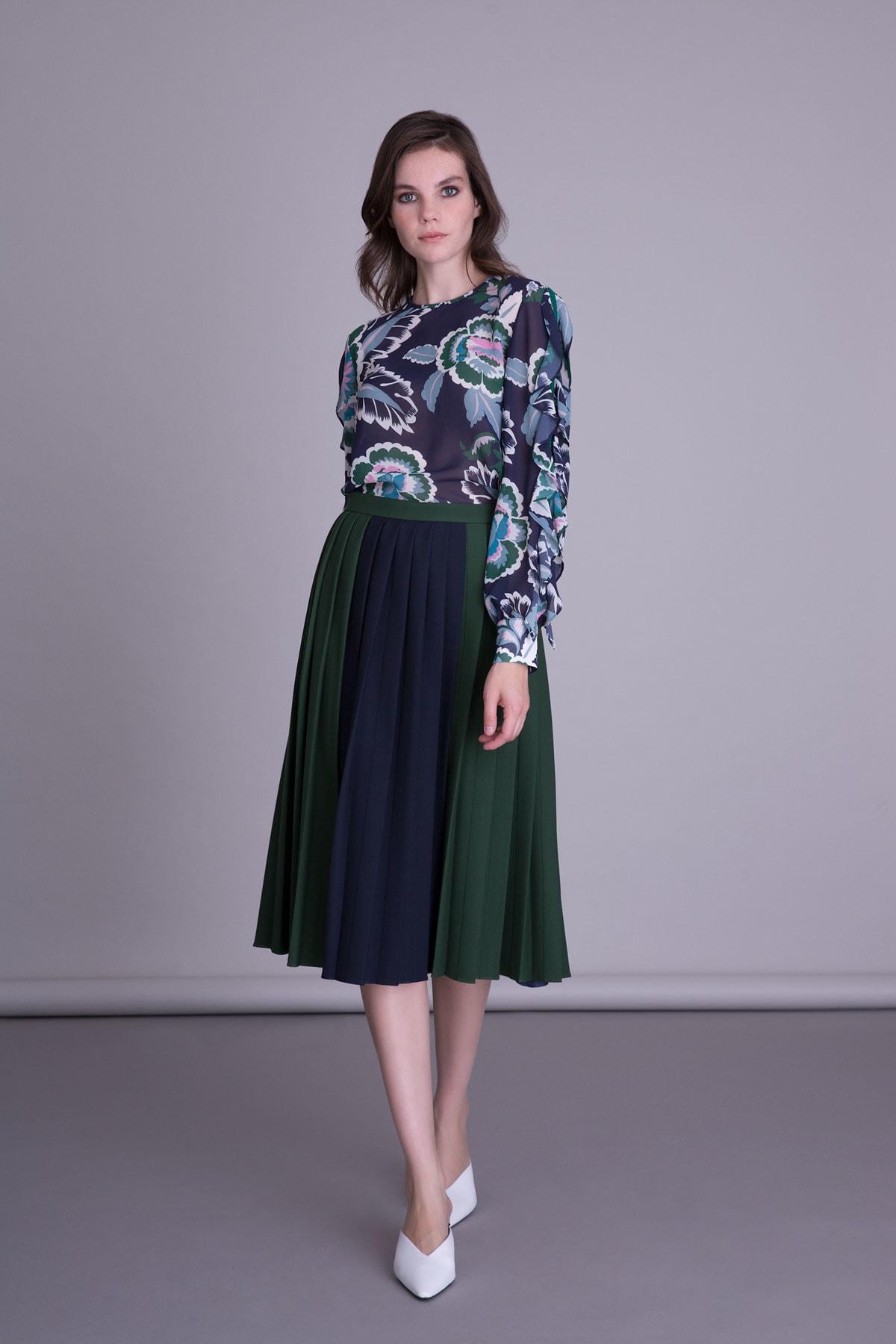 GIZIA CASUAL Kadın Mor Çiçek Desenli Bluz 1