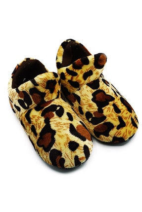 GEZER Bayan Leopar Desenli Ev Botu-ev Ayakkabısı-panduf
