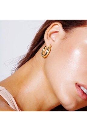 aylasilver Kadın Gold Rengi Gümüş 20 mm Halka Küpe   25 Ayar