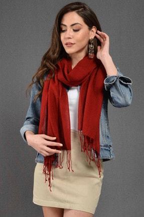 Dosimira Unisex Kırmızı Düz Boya Pamuklu Fular