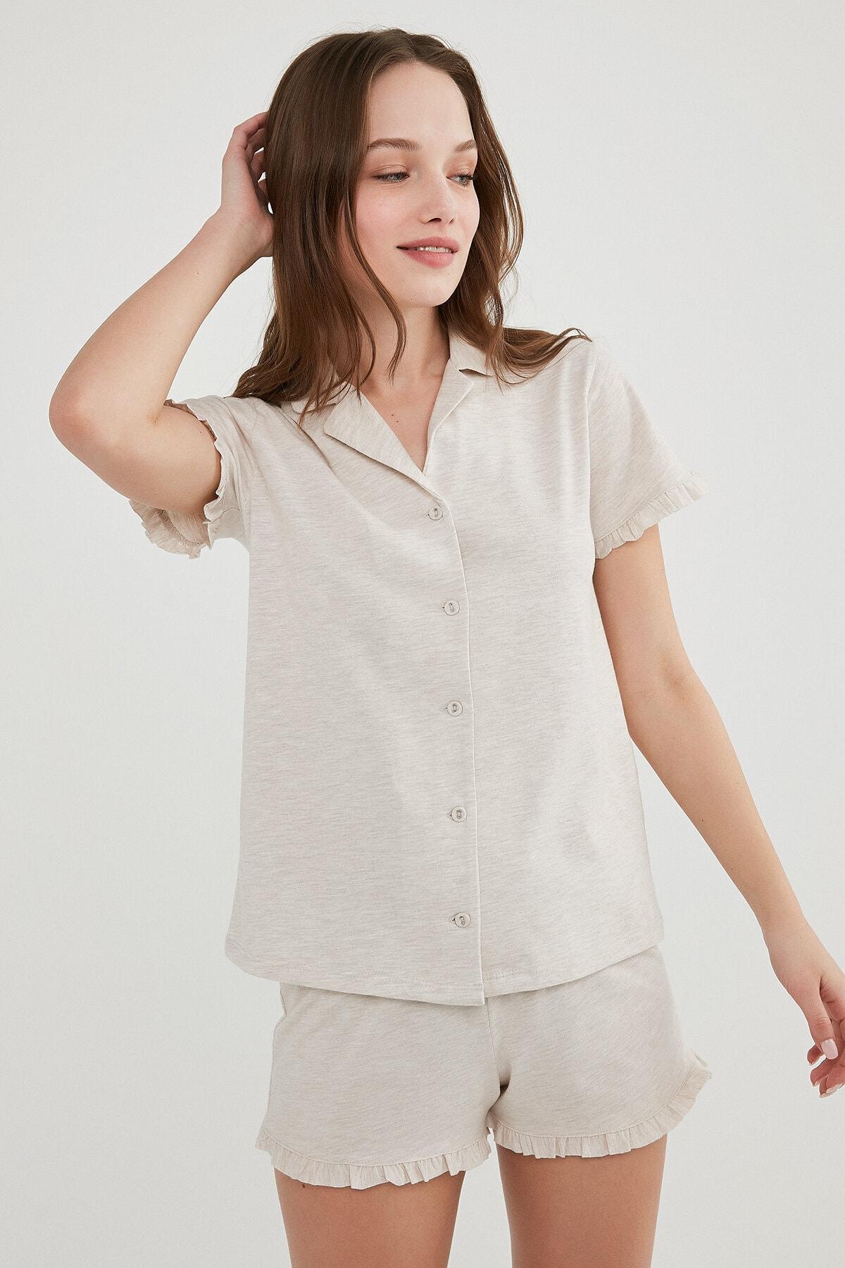 Penti Kadın Ten Melanj Gömlek Şort Pijama Takımı 2