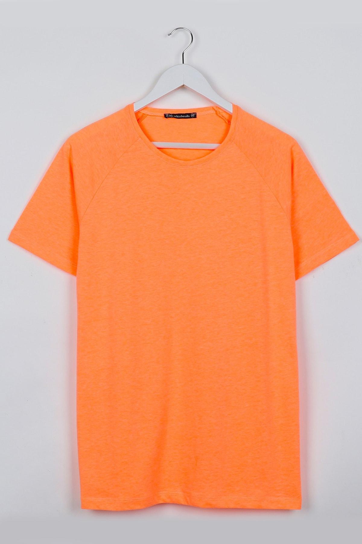 Sekizbiraltı Neon Turuncu Reglan Kol Basic Unisex Tshirt 1