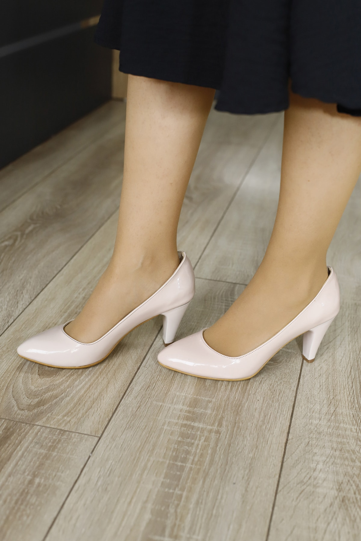 PUNTO Kadın Pudra Stiletto Topuklu Ayakkabı 1