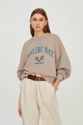 Pull & Bear Kadın Kolej Logolu Sweatshirt