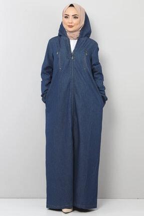 Tesettür Dünyası Büyük Beden Tesettür Kot Elbise Tsd0892 Koyu Mavi