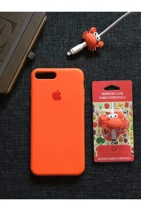SUPPO Iphone 7-8 Plus Uyumlu Logolu Lansman Kılıf+Kablo Koruyucu