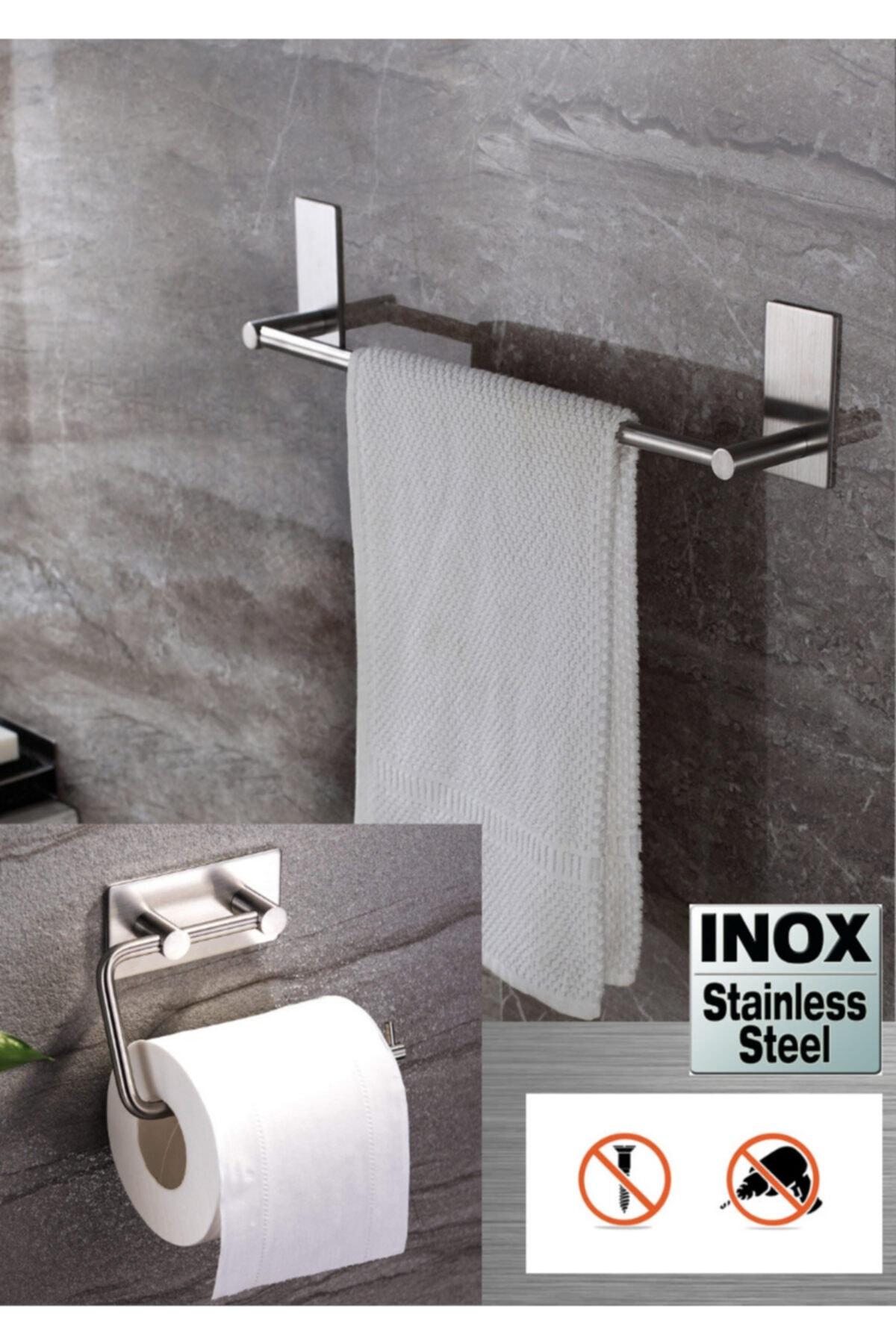 DELTAHOME Paslanmaz Çelik 40cm Havluluk Ve Tuvalet Kağıtlığı Set - Inox 1