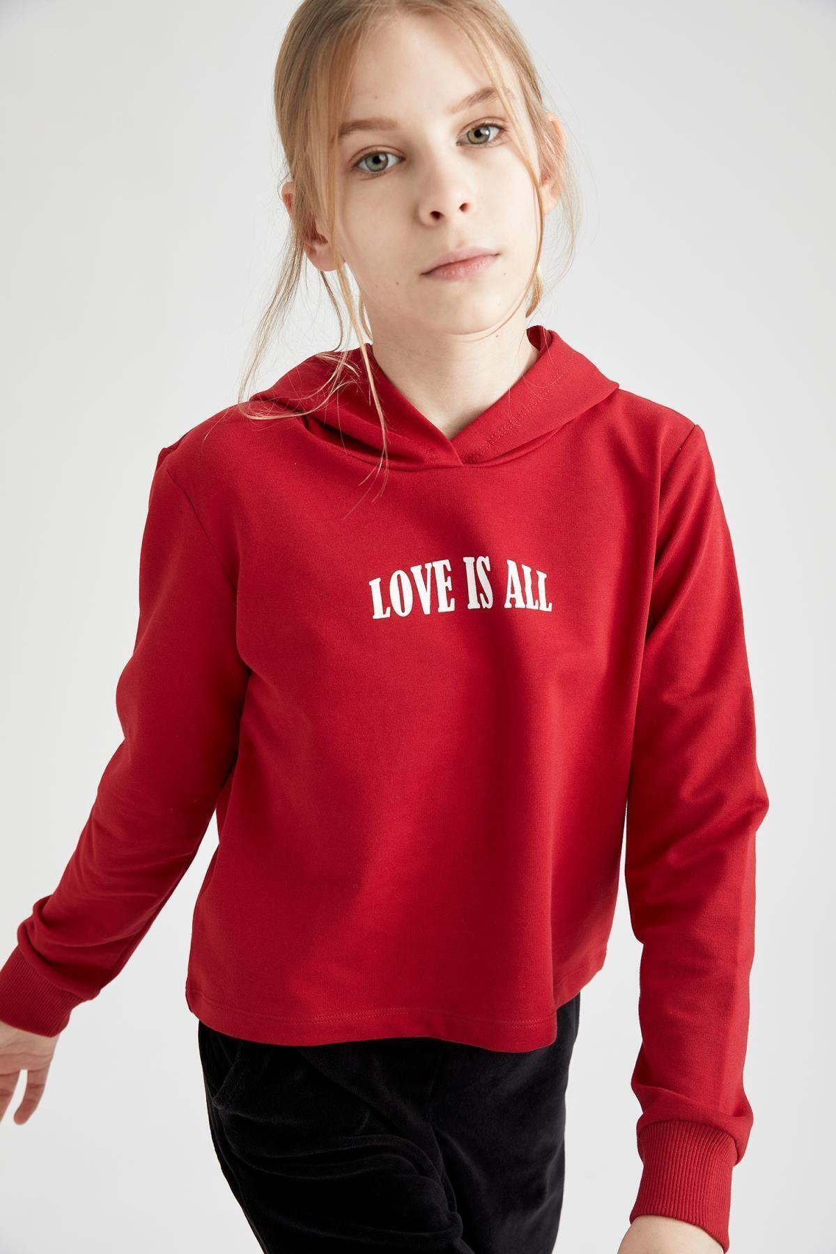 DeFacto Kız Çocuk Yazı Baskılı Sweatshirt 1