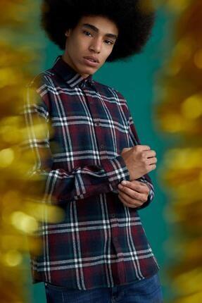 DeFacto Erkek Lacivert Regular Fit Ekose Desenli Uzun Kollu Oduncu Gömlek Ceket S9559AZ20CWNV