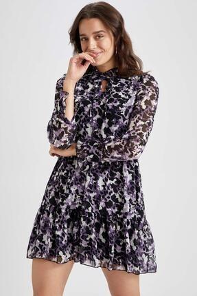 DeFacto Volan Detaylı Dik Yaka Dokuma Elbise