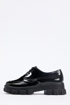 DeFacto Suni Deri Kalın Taban Bağcıklı Ayakkabı