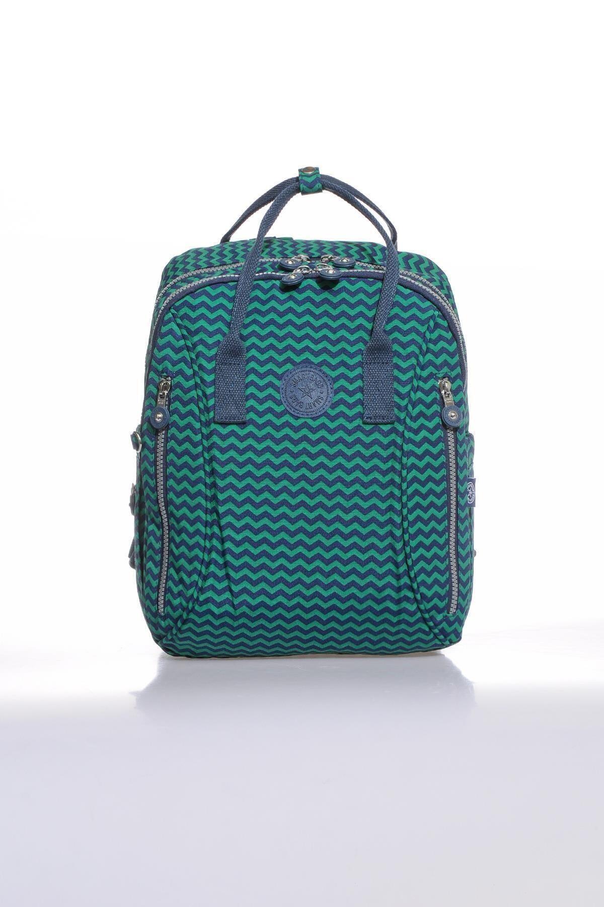 SMART BAGS Kadın Lacivert Yeşil Smb1220-0066 Sırt Çantası 1